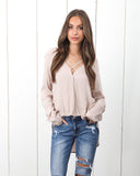 Crossing Paths Drape Blouse - Latte