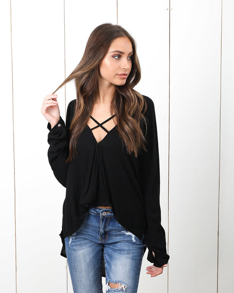 Crossing Paths Drape Blouse - Black