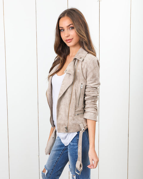 Friend Or Faux Suede Moto Jacket - Taupe