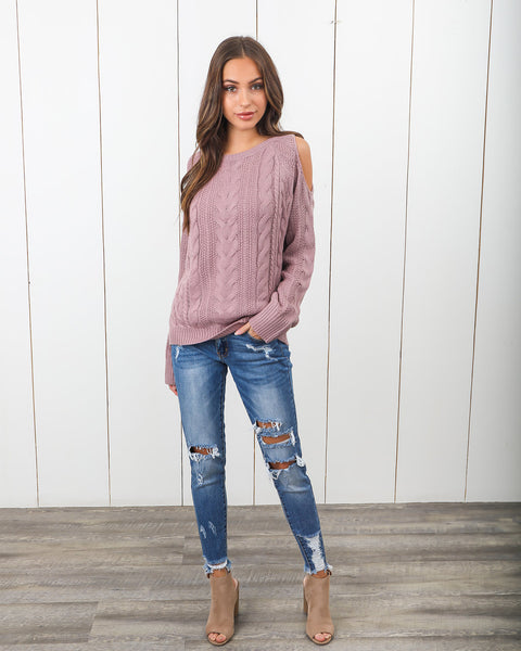Give 'Em The Cold Shoulder Sweater - Dusty Rose