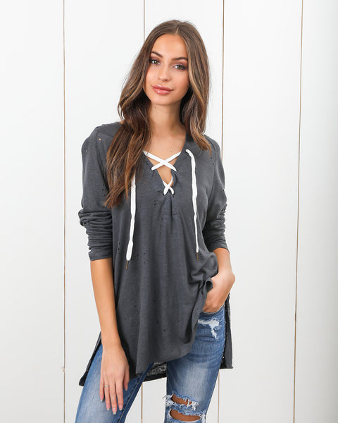 Carrison Distressed Lace Up Knit - Charcoal - FINAL SALE