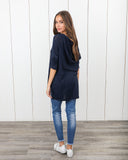 Carrison Distressed Lace Up Knit - Navy - FINAL SALE