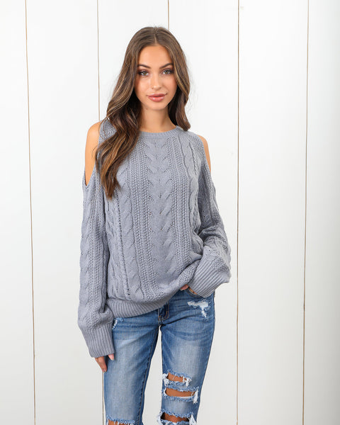 Give 'Em The Cold Shoulder Sweater - Dove Grey