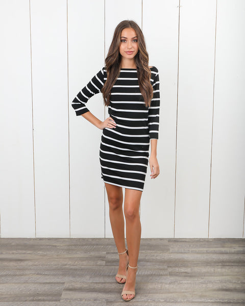 Sail Away Striped Dress - Black