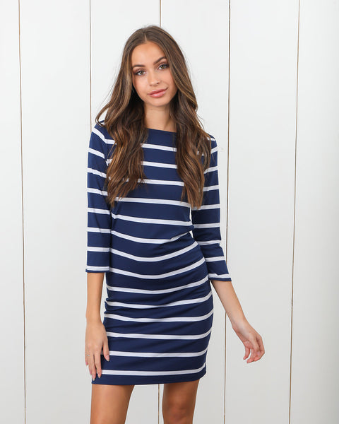Sail Away Striped Dress - Navy