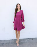 Gallery Ruffle Dress - Dark Mauve - FLASH SALE