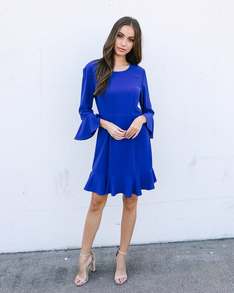 Gallery Ruffle Dress - Cobalt Blue - FLASH SALE