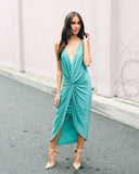 Cressida Twist Dress - Sage - FINAL SALE