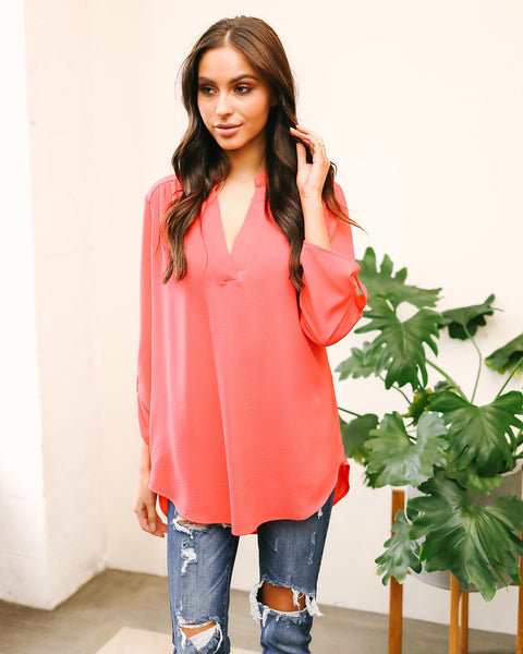 Peoria Blouse - Coral