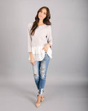 Simple & Sweet Contrast Knit Top - Stone - FINAL SALE