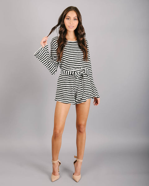 Out & About Cotton Striped Pocketed Romper - Black - FINAL SALE