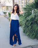 Rhumba Ruffle Wrap Skirt - Navy - FLASH SALE