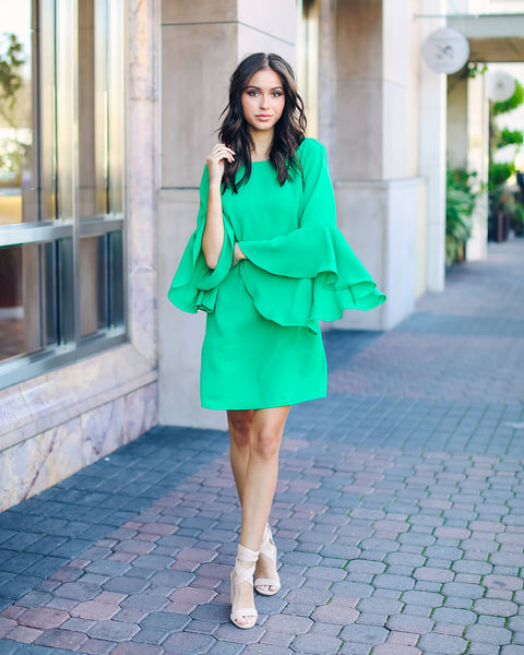 Shaney Bell Sleeve Shift Dress - Kelly Green