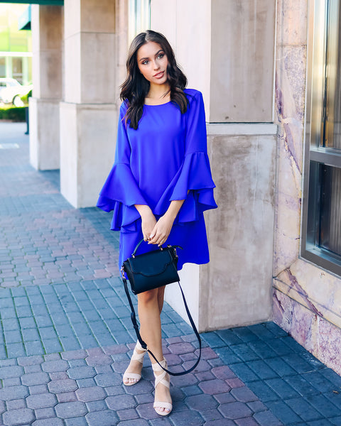 Shaney Bell Sleeve Shift Dress - Royal Blue