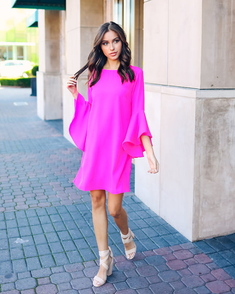 Shaney Bell Sleeve Shift Dress - Hot Pink