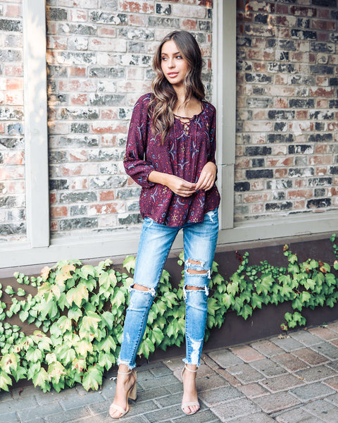 Seasonal Splendor Blouse - Plum