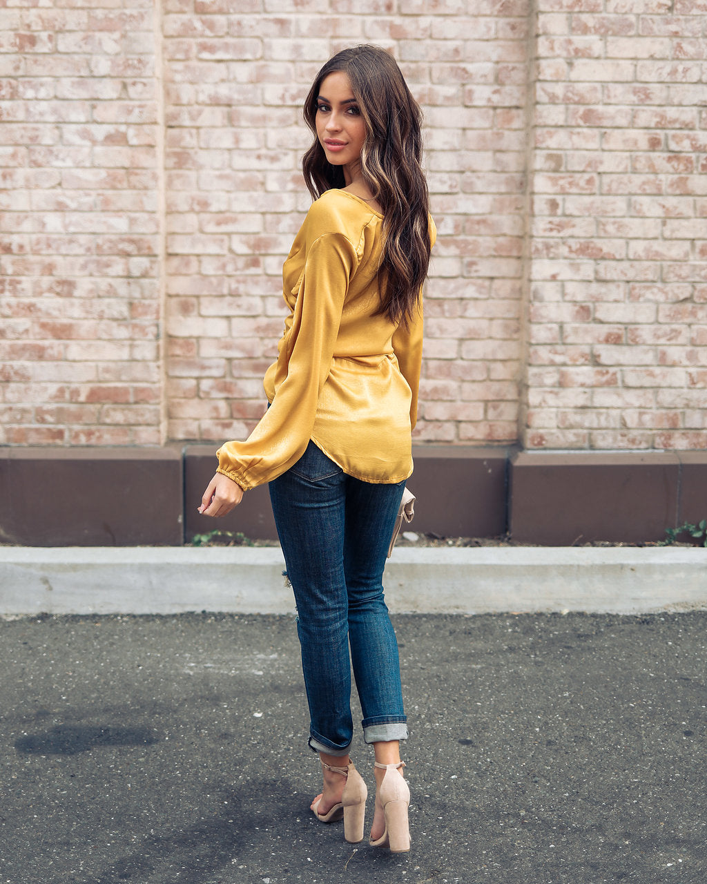 Fleetwood Tie Blouse - Mustard - FINAL SALE