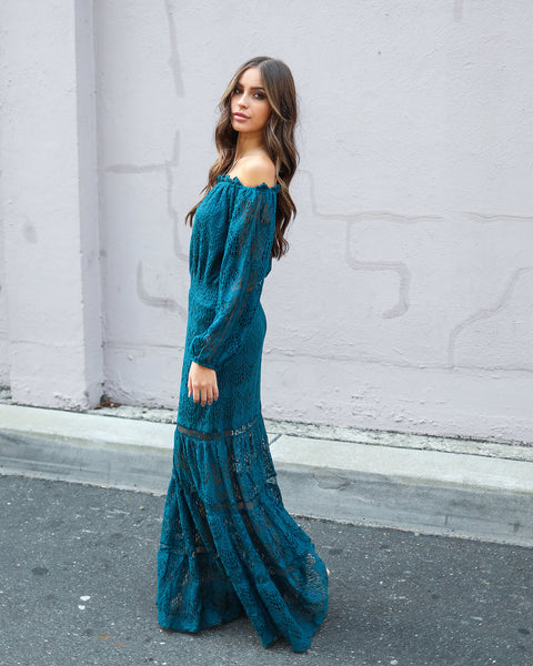 Victorian Crochet Lace Maxi Dress - Teal