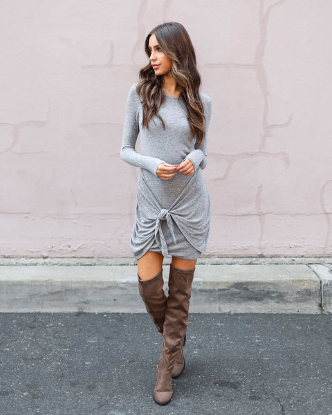 Play The Part Tie Dress - Heather Grey
