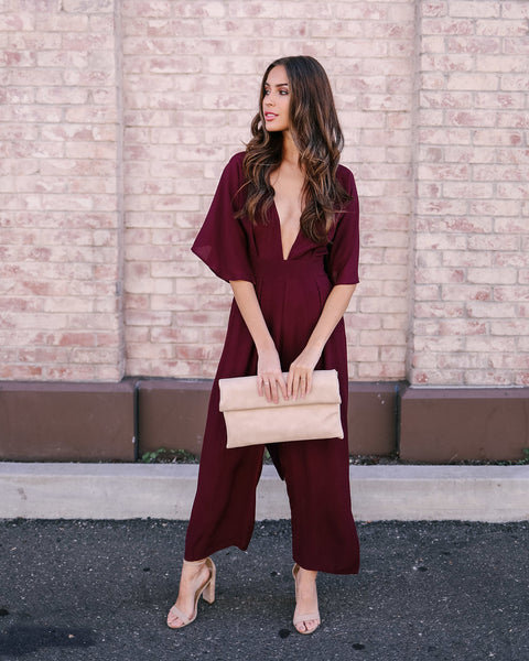 Looking Back Pocketed Jumpsuit - Wine