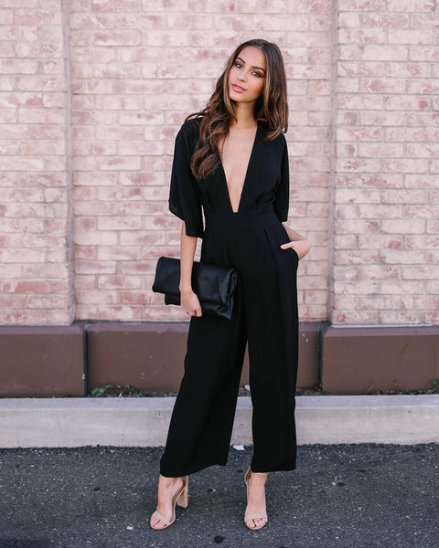 Looking Back Pocketed Jumpsuit - Black