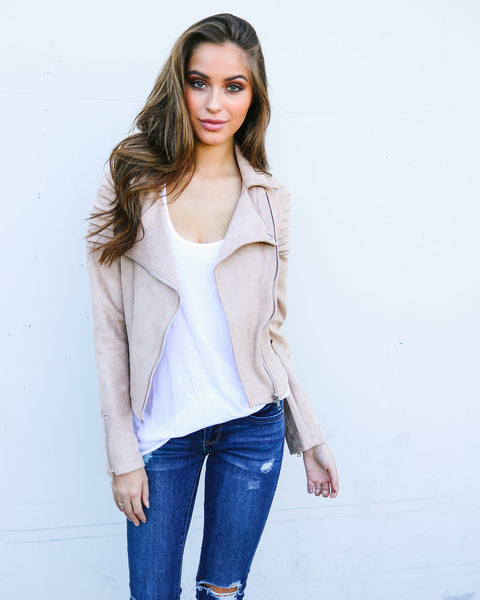 Perfect Illusion Faux Suede Moto Jacket - Sand