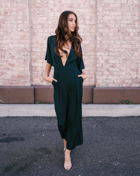 Looking Back Pocketed Jumpsuit - Teal