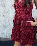 Petal Perfect Pocketed Dress - Burgundy - FINAL SALE