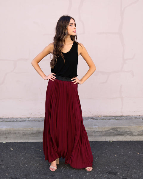 Midnight Kiss Pleated Skirt