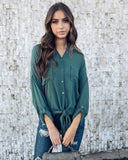 Anywhere Button Down Tie Top - Green