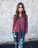 Anywhere Button Down Tie Top - Burgundy