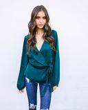 Wrapped Up Satin Blouse - Deep Forest