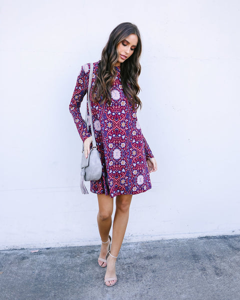 Paisley Enchantment Long Sleeve Dress