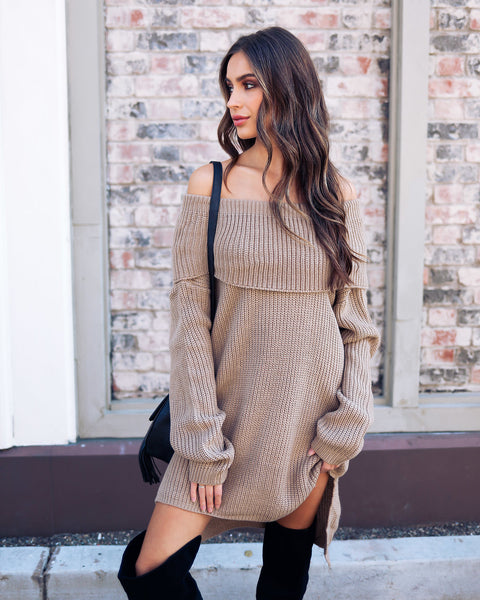 Dream Chaser Off The Shoulder Sweater - Mocha