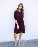 Bliss Pocketed Knit Dress - Burgundy