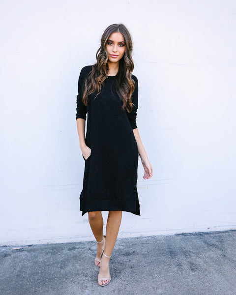 Bliss Pocketed Knit Dress - Black