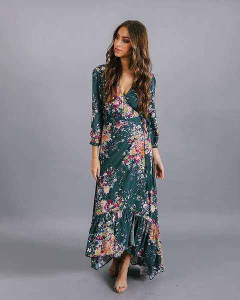 Here With Me Floral Wrap  Maxi Dress - FINAL SALE