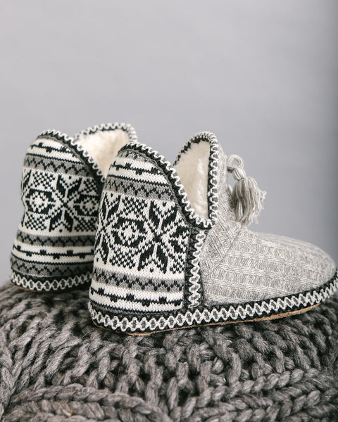 Nordic Tassel Slippers - Heather Grey