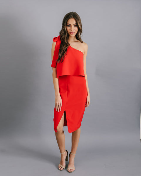 Lady In Red One Shoulder Midi Dress