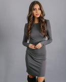 Lure You In Bodycon Dress - Grey - FLASH SALE