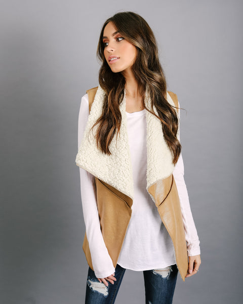 District Faux Suede Sherpa Vest