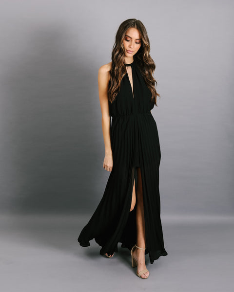 Under My Spell Pleated Maxi Romper - Black
