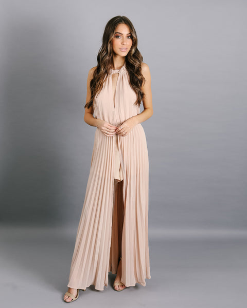 Under My Spell Pleated Maxi Romper - Nude