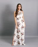 Forbidden Flower Halter Maxi Dress - Cream