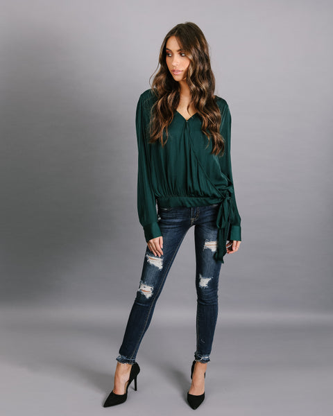 Strictly Business Satin Wrap Blouse - Deep Forrest - FINAL SALE