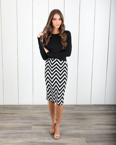 New Direction Cashmere Blend Chevron Skirt