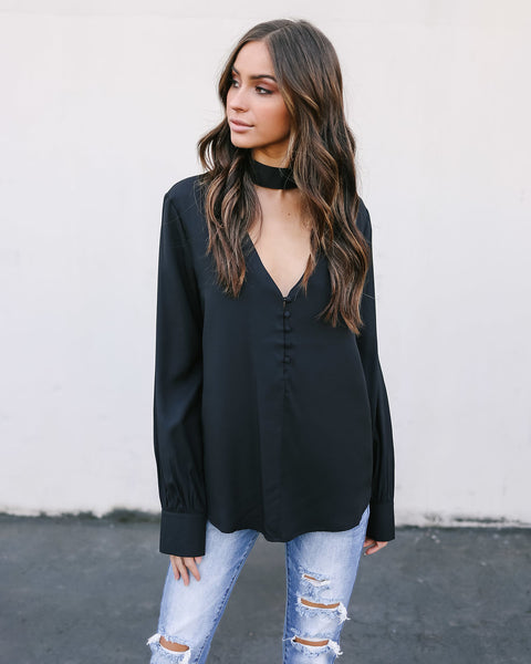 From Me To You Keyhole Blouse - Black