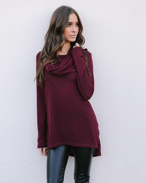 Windchill Off The Shoulder Knit Top - Burgundy