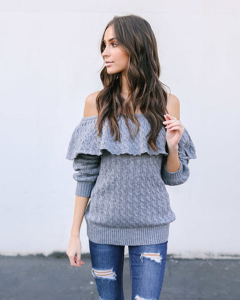 Interests Off The Shoulder Cable Knit Sweater