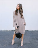 Baby, It's Cold Outside Pocketed Sweater Dress - Taupe - FINAL SALE